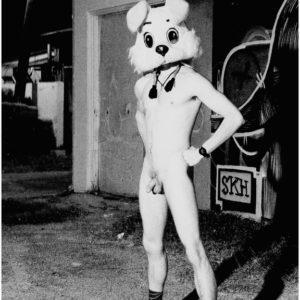 Naked rabbit headed man